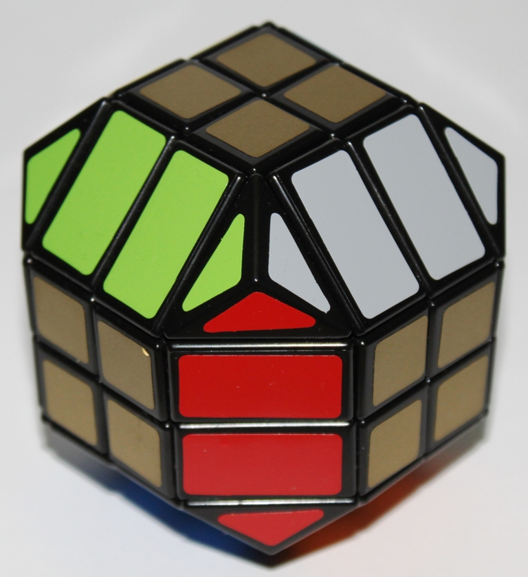 The 4x4 Dodecahedron has uniformly coloured square faces and no edge pieces at all, making it relatively easy to solve.