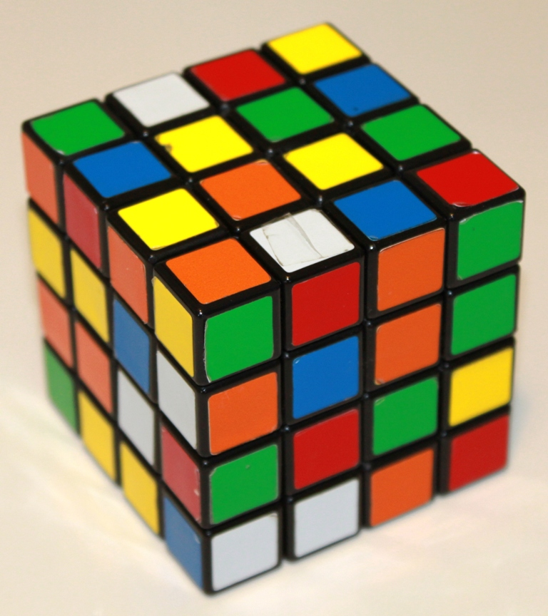 A Rubik's Revenge in one of its 7.4 quattuordecillion positions